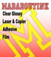 Clear Glossy Vinyl Laser & Copier Adhesive Sticker Film 5 A4 Sheets